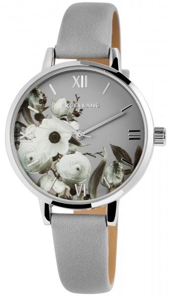 Excellanc Damen-Uhr Lederimitat Dornschließe Blumen Analog Quarz 1900213