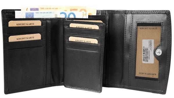 Akzent Damen - Geldbörse Echt Leder Portemonnaie Querformat 14 x 10 cm 3000244