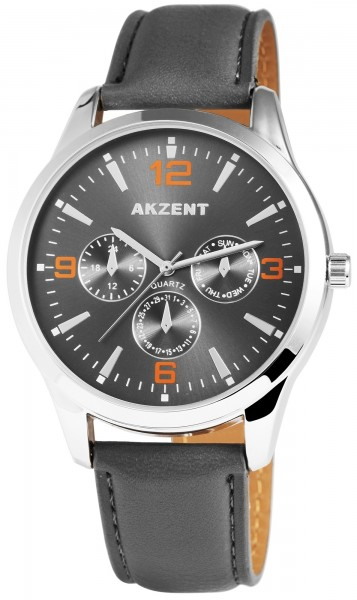 Akzent Herren - Uhr Lederimitations Armbanduhr Elegant Analog Quarz 2900004