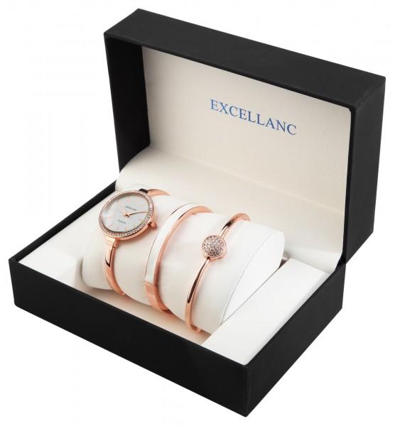 Excellanc Damen - Geschenkset mit Armbanduhr und zwei Armreifen 1800200