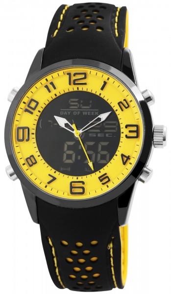 Raptor Herren-Uhr Analog-Digital Anzeige Quarzwerk mit Silikon Armband RA20033