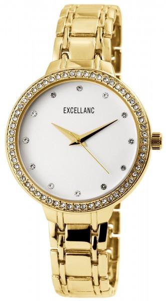 Excellanc Damen - Uhr Metall Armband Strass Clipverschluss Quarz Analog 1800141