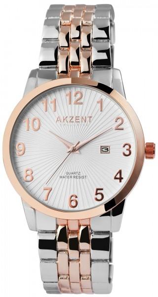 Akzent Exclusive Herren - Uhr Metall Armbanduhr Datum Analog Quarz 2800070