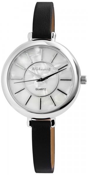 Excellanc Damen-Uhr Lederimitat Perlmutt Dornschließe Analog Quarz 1900162