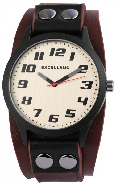 Excellanc Herren-Uhr Unterlegarmband Lederimitat Dornschließe Analog Quarz 2900085