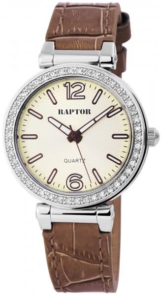 Raptor Damen - Uhr Oberseite Echt Leder Armbanduhr Strass Steine Analog Quarz RA10109