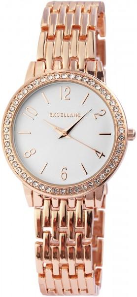 Excellanc Damen-Uhr Metallarmband Faltschließe Strass Analog Quarz 1800125