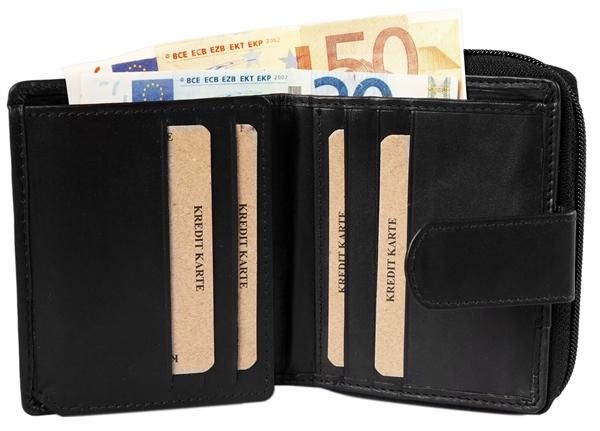 Akzent Damen - Geldbörse Echt Leder Portemonnaie Querformat 12 x 10cm 3000251