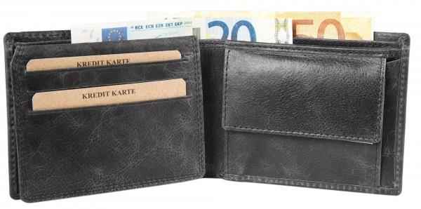 Akzent Herren - Geldbörse Leder Portemonnaie RFID Vintage Quer 11 x 9 cm 3000256