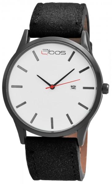 QBOS Herren-Uhr Lederimitat Dornschließe Elegant Datum Analog Quarz 2900175
