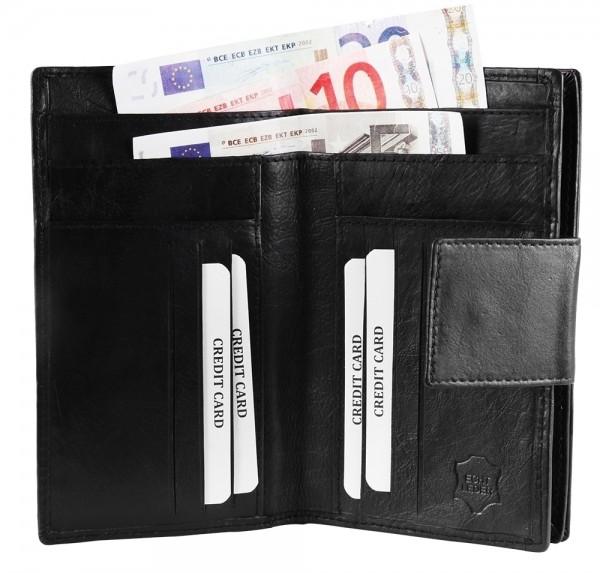 Akzent Damen - Geldbörse Echt Leder Portemonnaie Querformat 16 x 10 cm 3000322