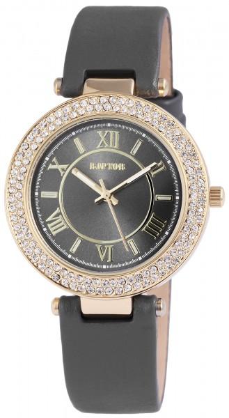 Raptor Damen-Uhr Echt Leder Armband Strass Stein Elegant Analog Quarz RA10080