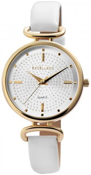 Excellanc Damen-Uhr Lederimitat Dornschließe Rund Strass Analog Quarz 1900235