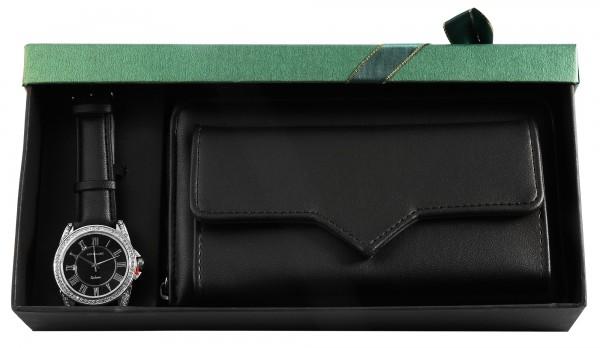 Excellanc Damen-Geschenkset Lederimitat Armbanduhr Geldbörse 1900219