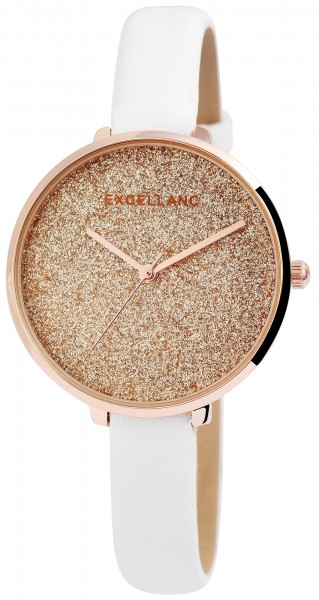 Excellanc Damen-Uhr Lederimitat Dornschließe Glitzer Analog Quarz 1900203