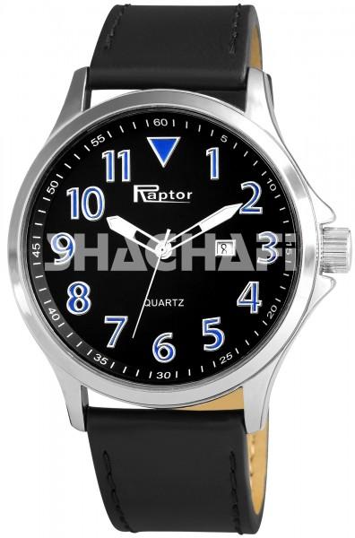 Raptor Herren-Uhr Armband Oberseite Echtleder Datumsanzeige Analog Quarz RA20081
