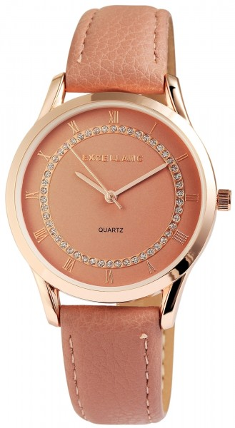 Excellanc Damen-Uhr Lederimitat Dornschließe Strass Analog Quarz 1900081