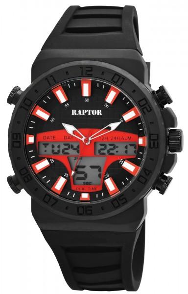 Raptor Herren - Uhr Silikon Leuchtzeiger Multifunktion Digital Analog RA20260