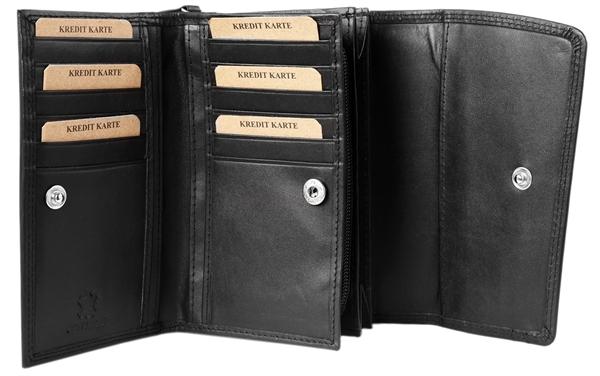 Akzent Damen - Geldbörse Echt Leder Portemonnaie Querformat 15,5 x 10cm 3000250