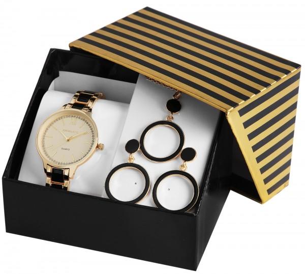 Excellanc Geschenkset Damenuhr mit Metallband Halskette und Ohrringe 1800188