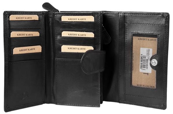 Akzent Damen - Geldbörse Echt Leder Portemonnaie Querformat 15,5 x 10cm 3000249