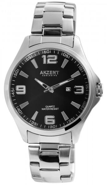 Akzent Exclusive Herren - Uhr Edelstahl Armbanduhr Datumsanzeige Analoganzeige Quarz 2800061