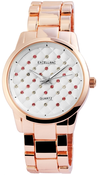 Excellanc Damen – Uhr Metallband Crystal Besatz Analog Quarz 1800129