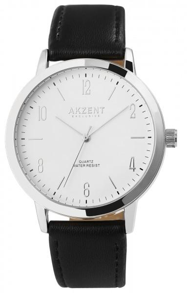 Akzent Exclusive Herren-Uhr Lederimitat Armbanduhr Elegant Analog Quarz 2900201