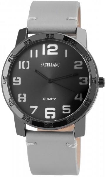 Excellanc Herren-Uhr Lederimitat Dornschließe Rund Analog Quarz 1900123
