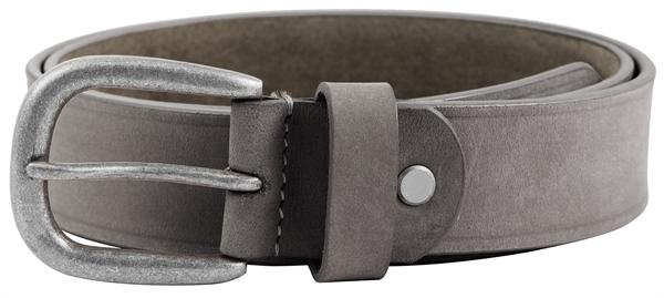 Leonardo Verrelli Damen - Gürtel aus Leder Grau 85-105 cm Vintage Dornschließe 3100060