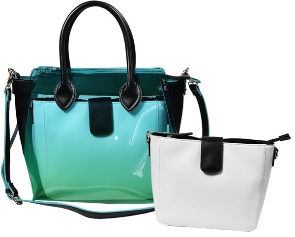 Fancery Tasche 2-in-1 Grün Schwarz Weiß Transparent