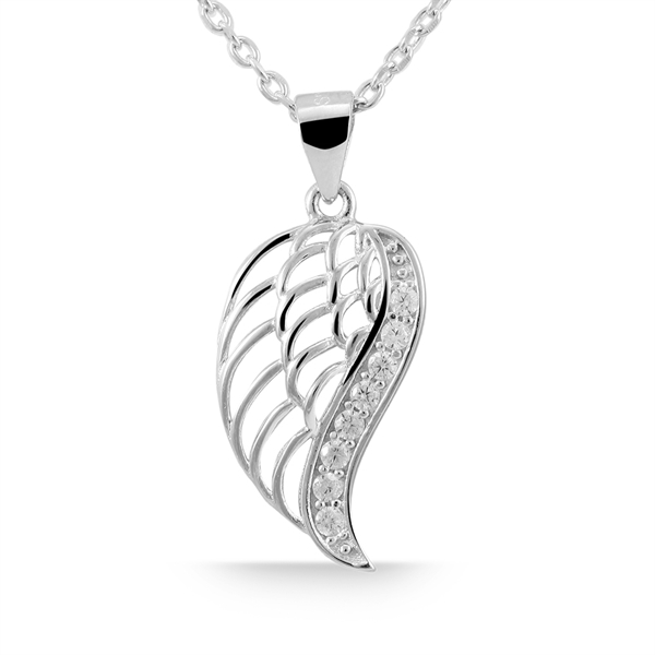 Giulia Luna Damen-Halskette Anhänger Flügel Schutz 925er Silber Strass GL5210006