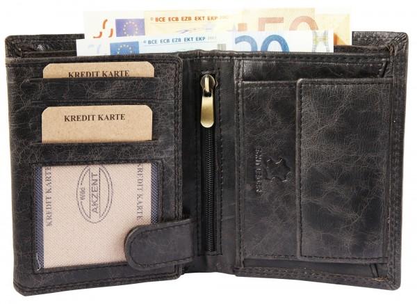 Akzent Herren Geldbörse aus Echtleder. Format 10 x 12 cm.