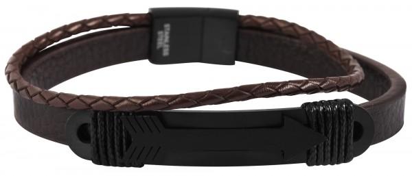 Akzent Unisex - Armband aus Echtleder mit Edelstahl Länge 20 cm 5040097