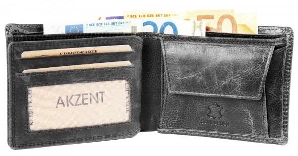 Akzent Herren - Geldbörse Leder Portemonnaie RFID Vintage Quer 11 x 9 cm 3000253