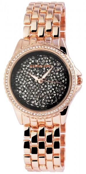Excellanc Damen-Uhr Gliederarmband Metall Strass Faltschließe Analog Quarz 1800170