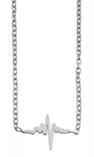 Akzent Damen - Halskette Heartbeat Anhänger Edelstahl Ankerkette 43+5cm 5010259