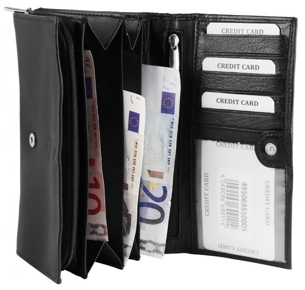 Akzent Damen - Geldbörse Echt Leder Portemonnaie Querformat 17 x 10 cm 3000317