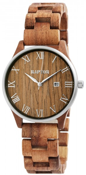 Raptor Herren-Uhr Holz Edelstahl Datum Faltschließe Analog Quarz RA20257