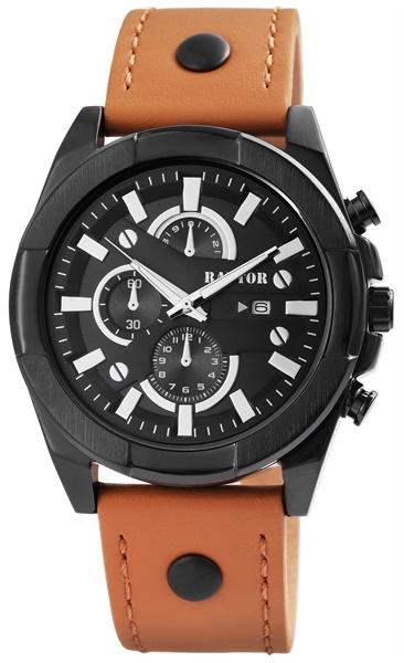 Raptor Herren-Uhr Armband Oberseite Leder Analog Quarzwerk RA20026 (braun/schwarz)