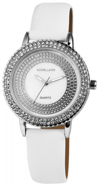 Excellanc Damen-Uhr Lederimitat Dornschließe Strass Analog Quarz 1900013