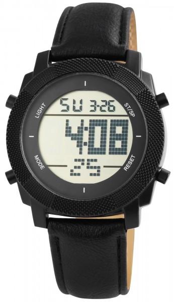 Excellanc Herren-Uhr Lederimitat Dornschließe Sport Digital Quarz 2400012