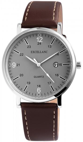 Excellanc Herren - Uhr Lederimitat Armbanduhr Datumsanzeige Analog Quarz 2900125