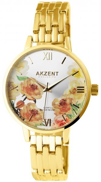 Akzent Exclusive Damen - Uhr Metall Armbanduhr Blumen Analog Quarz 1800197