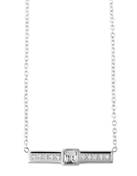 Akzent Damen - Halskette Strass Anhänger Edelstahl Ankerkette 43+5cm 5010276