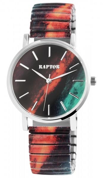 Raptor Colorful Edition Damen-Uhr Zugband Edelstahl Motiv Print Analog Quarz