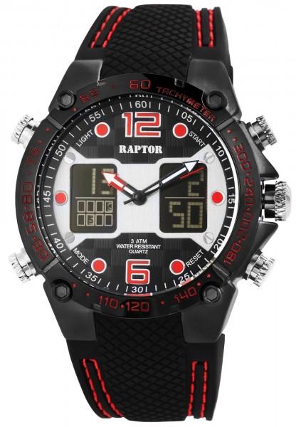Raptor Herren-Uhr Silikon Datum Stoppuhr Alarm Digital Analog Quarz RA20235