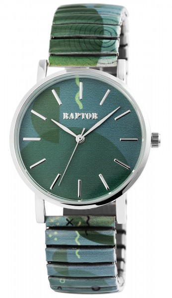 Raptor Colorful Edition Damen-Uhr Zugband Edelstahl Motiv Print Analog Quarz
