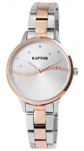 Raptor Damen-Uhr Edelstahl Welle Strass-Steine Elegant Analog Quarz RA10196