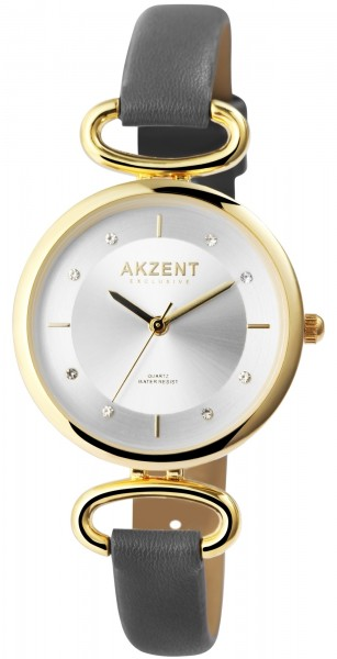 Akzent Exclusive Damen - Uhr Lederimitat Armbanduhr Strass Analog Quarz 1900246